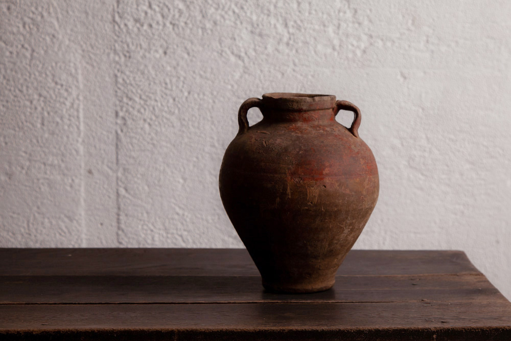 Antique,Vintage,アンティーク,ヴィンテージ,家具,雑貨,ツボ,壺,エジプト,耳付き,素焼き
