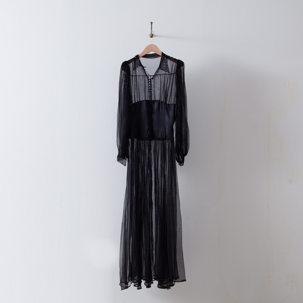 30s Tulle Bijoux  Embroidered Long Dress