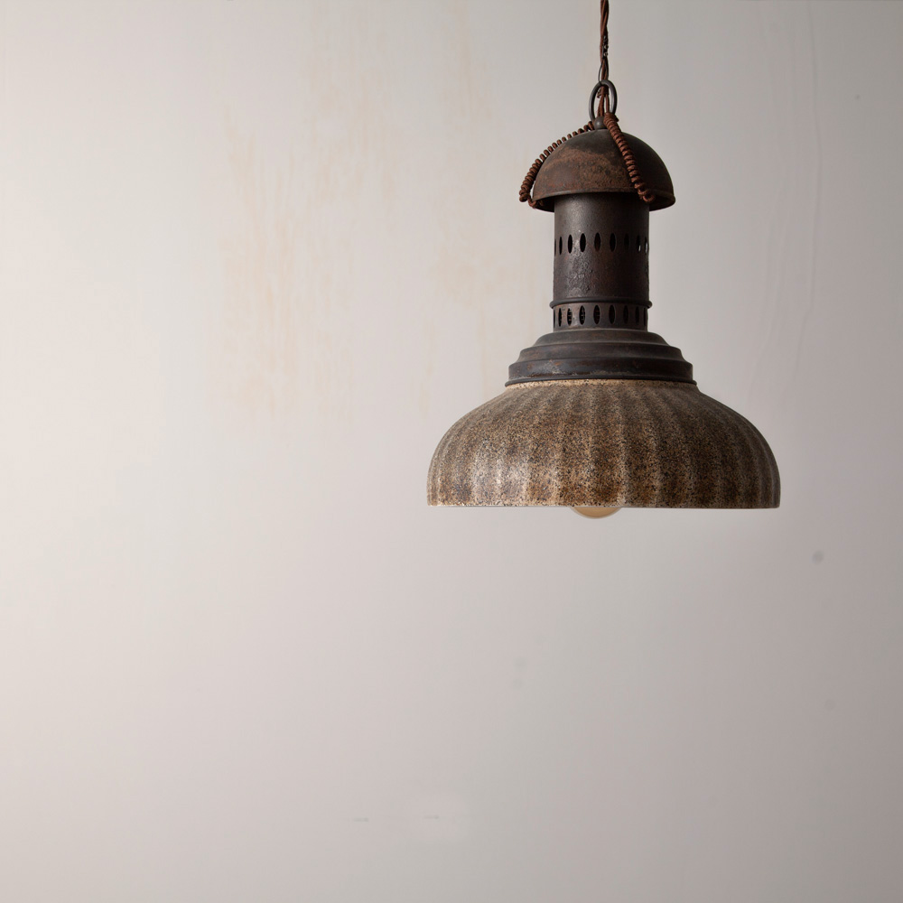 Industrial Lamp with Ceramic Shade