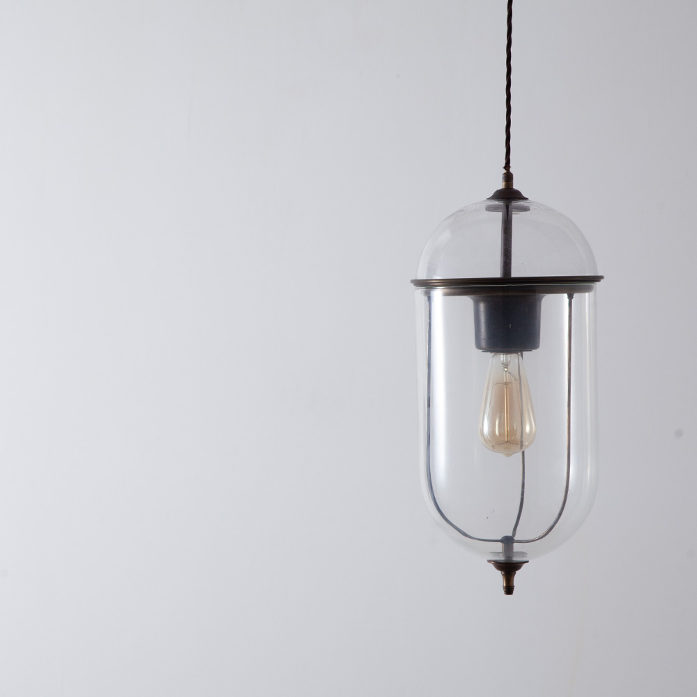 Lozenge Shape Glass Pendant Lamp with Brass Flame