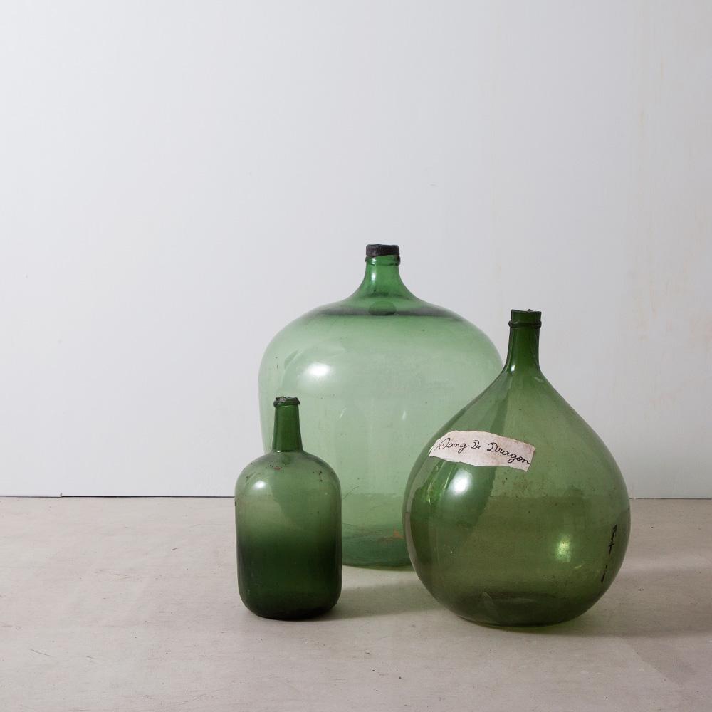 3 Demijohn Glass Bottles