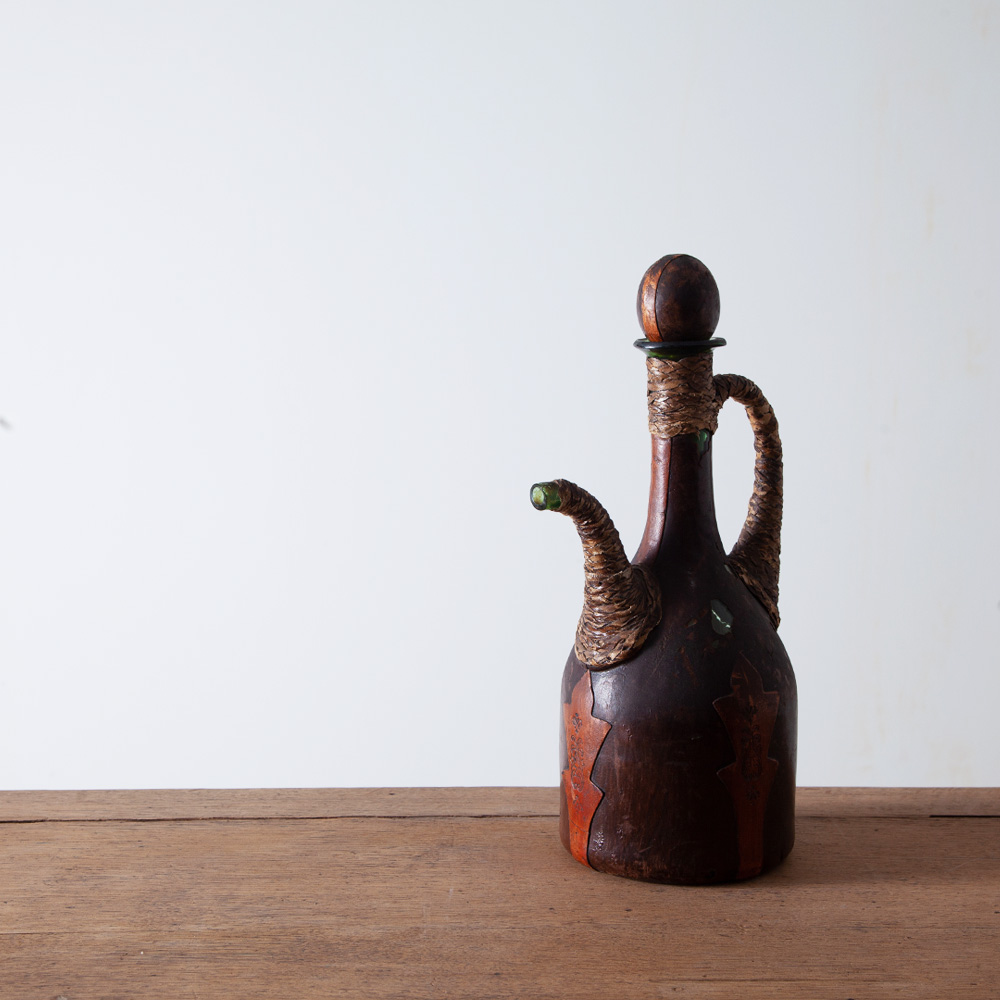 Glass Jug with Decorative Leather