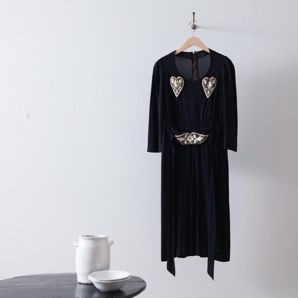 40s Heart Beads Embroidered Dress