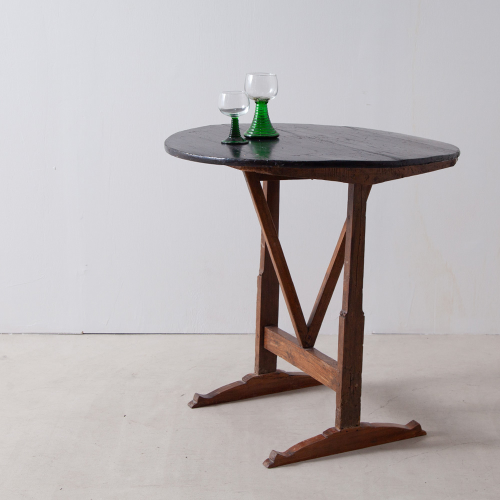 Folding Table with Black Circle Top