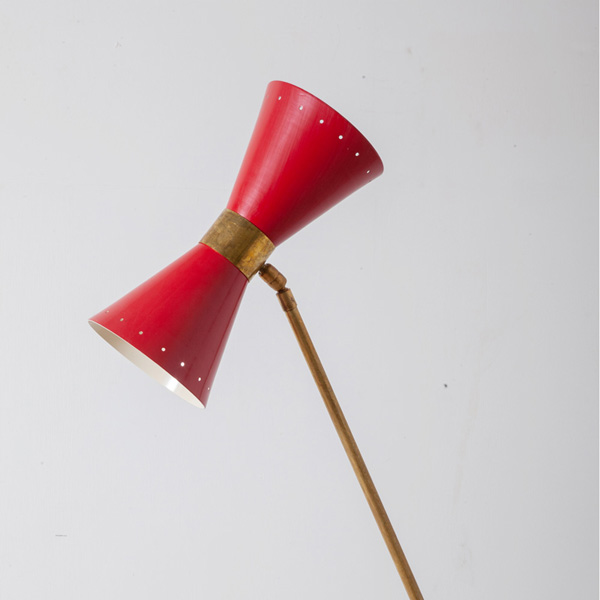 Mid-Century Modern Italian Stilnovo Style Floor Lamp in Brass and Red Red