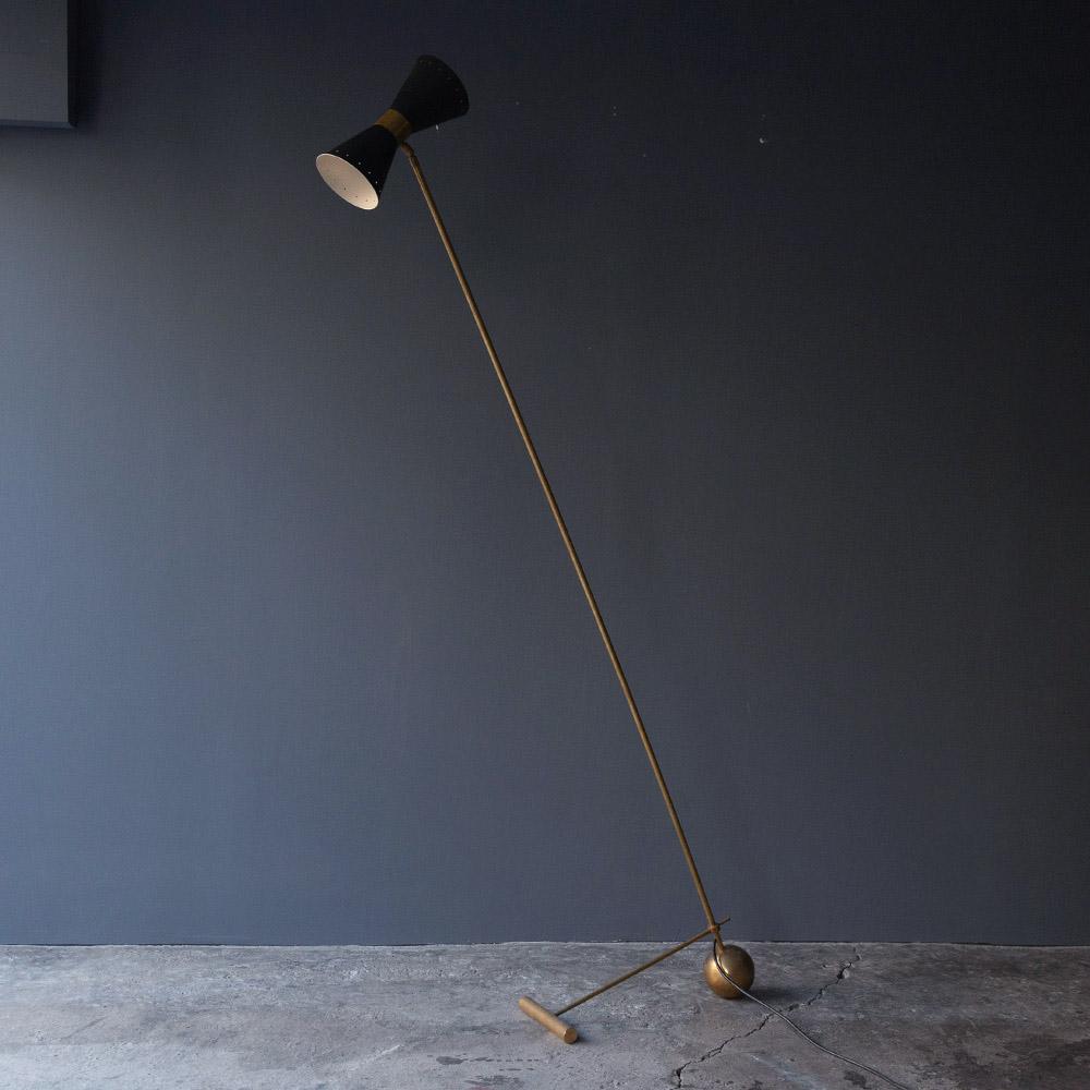 Mid-Century Modern Italian Stilnovo Style Floor Lamp in Brass and Black