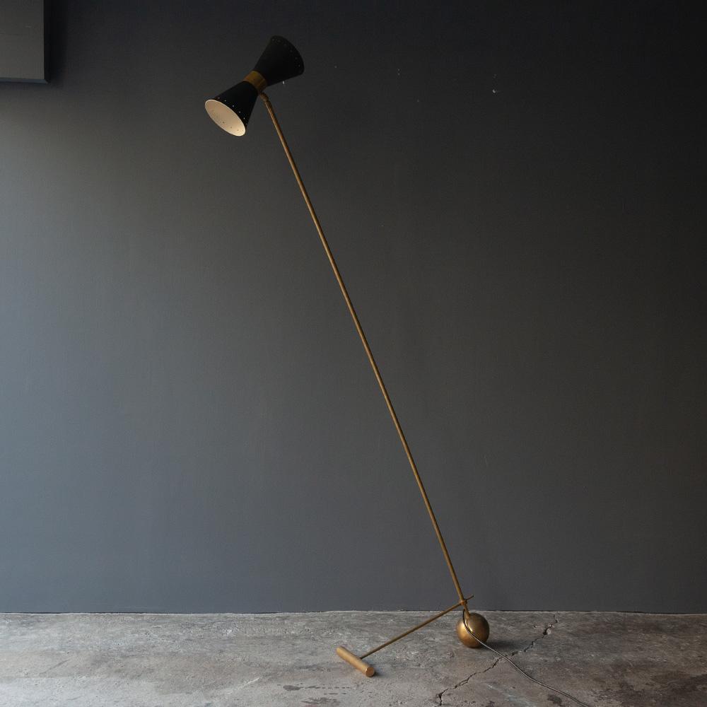 Mid-Century Modern Italian Brass and Black Floor Lamp by Stilnovo