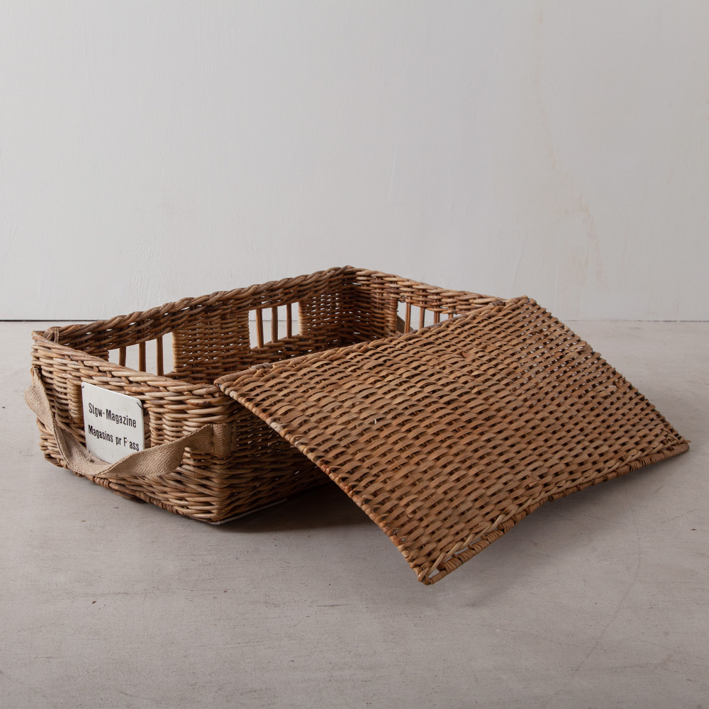 Antique Rattan Cage with  Enamel Plate