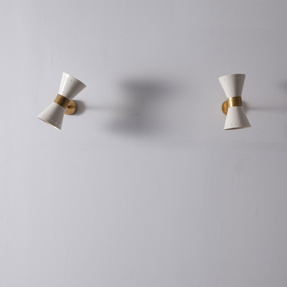 Adjustable Wall Light in Brass and White #02