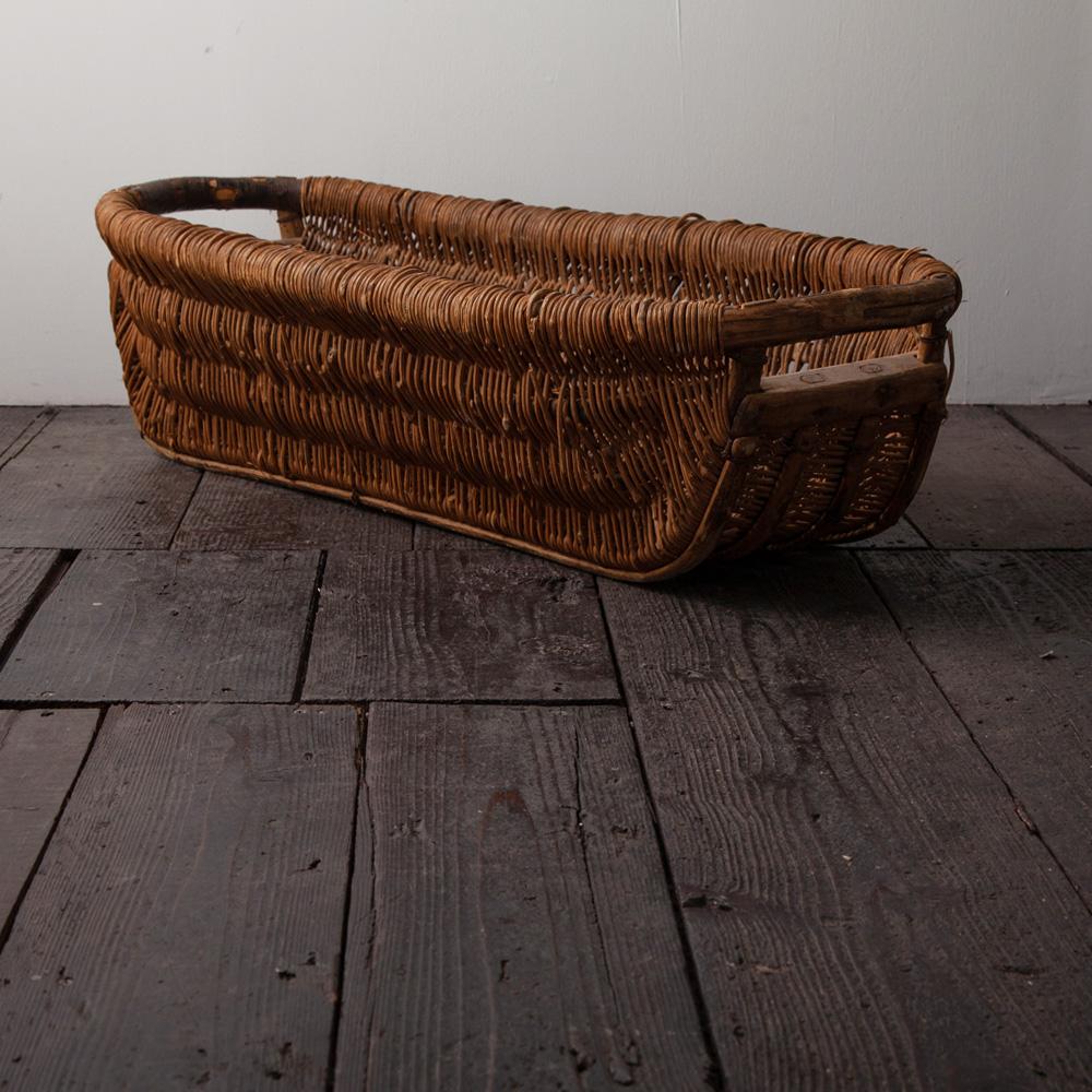 Primitive Wicker Basket in Wood