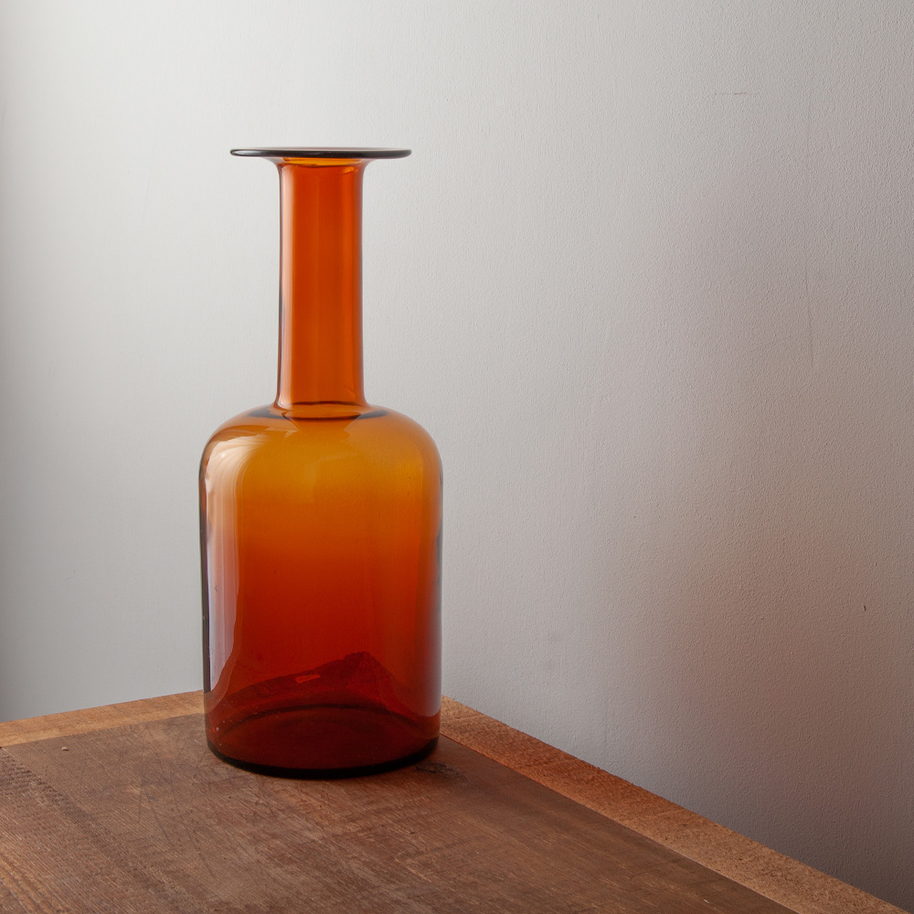 GUL VASE in Amber by Otto Brawer for HOLMEGAARD