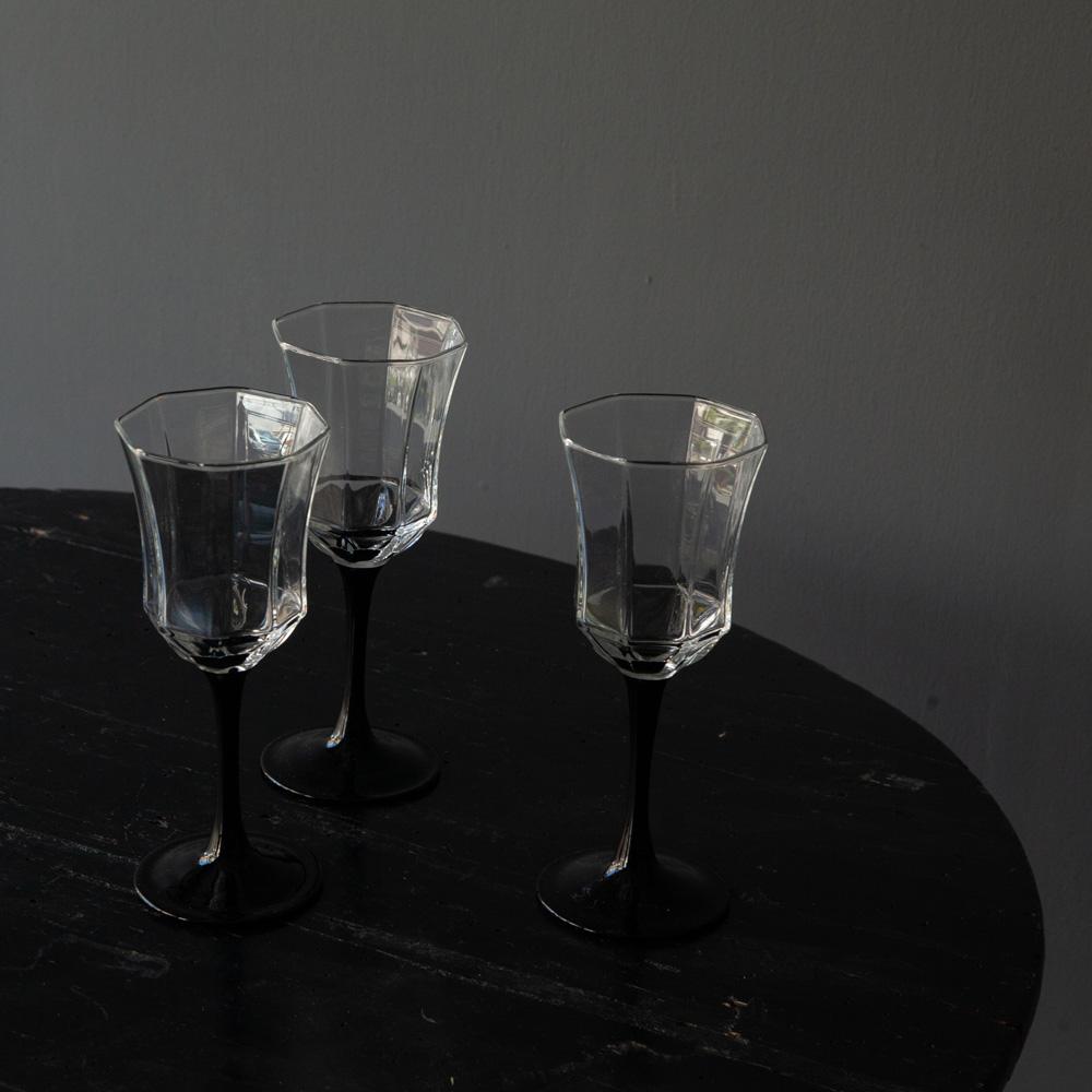 Vintage Octagonal Wine Glass with Black Handle