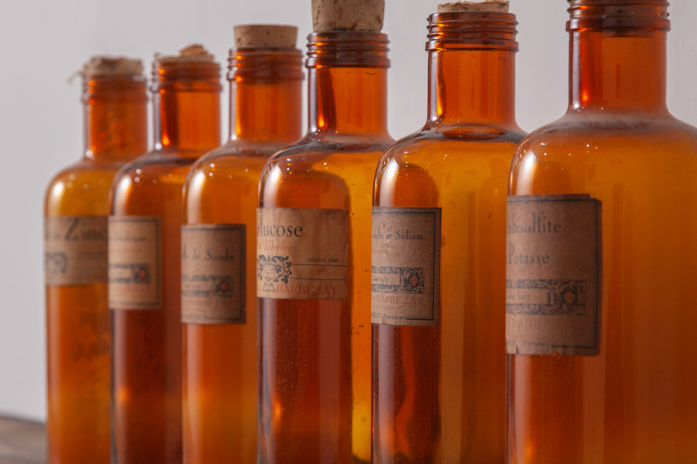 Antique Medical Glass Bottles in Amber