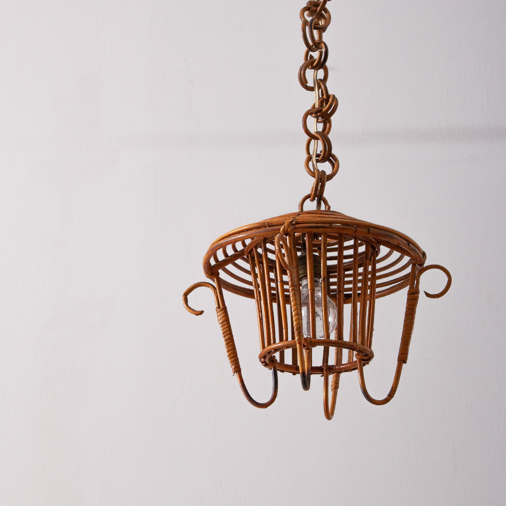French Vintage Rattan Pendant Light