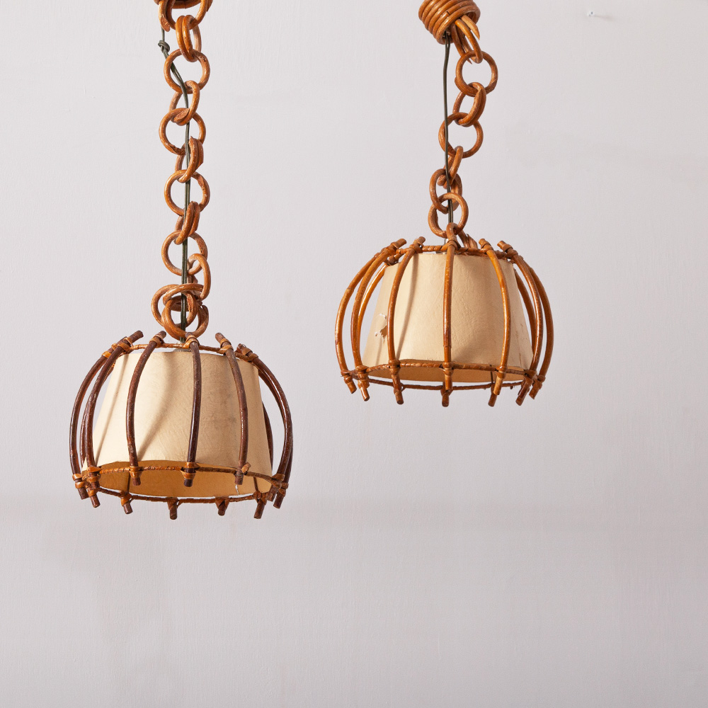 Vintage Pendant Light in Rattan and Paper