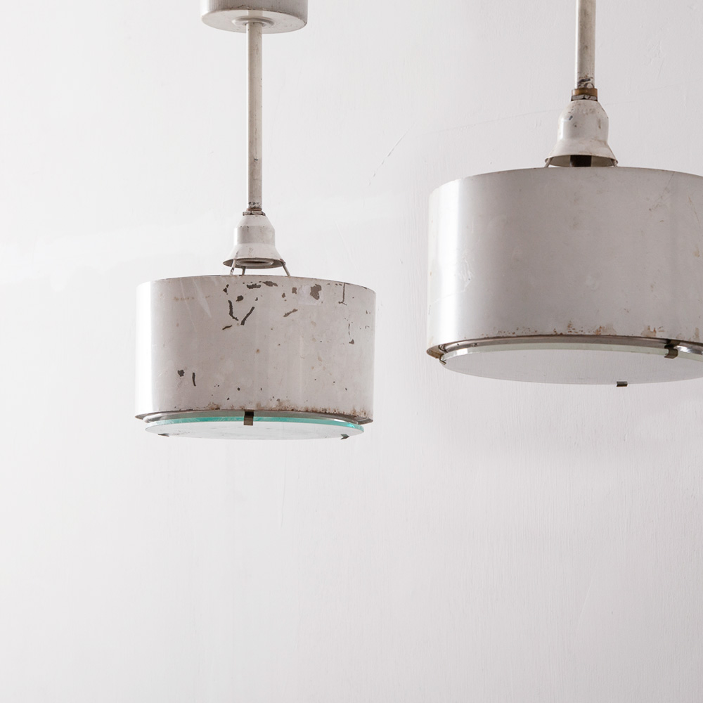 Vintage Pendant Light in Glass and White