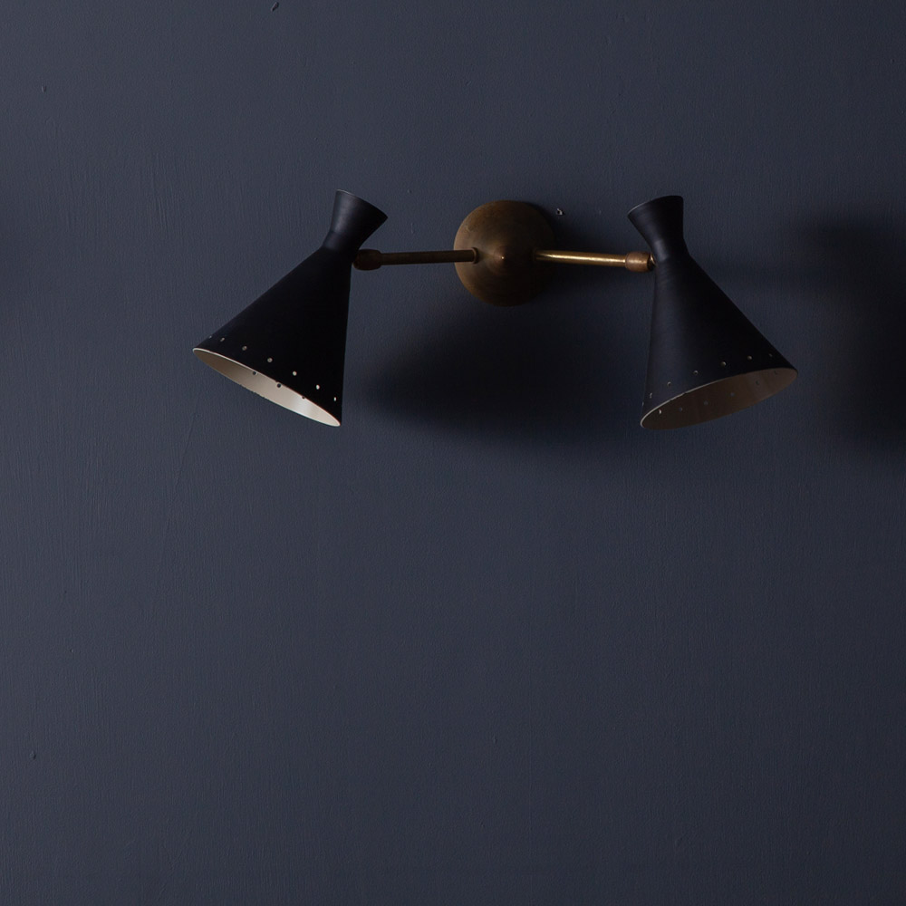 Adjustable Dual Wall Light in Brass and Black