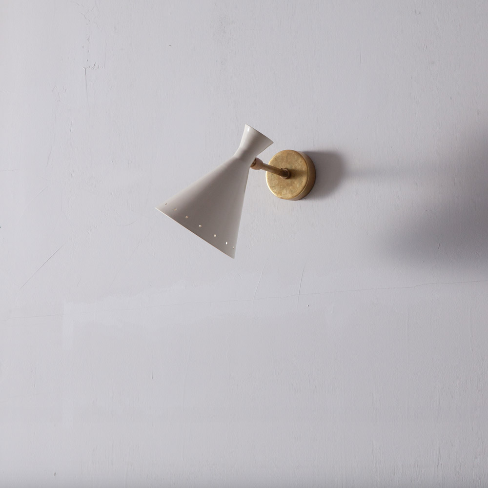 Adjustable Wall Light in Brass and White #01