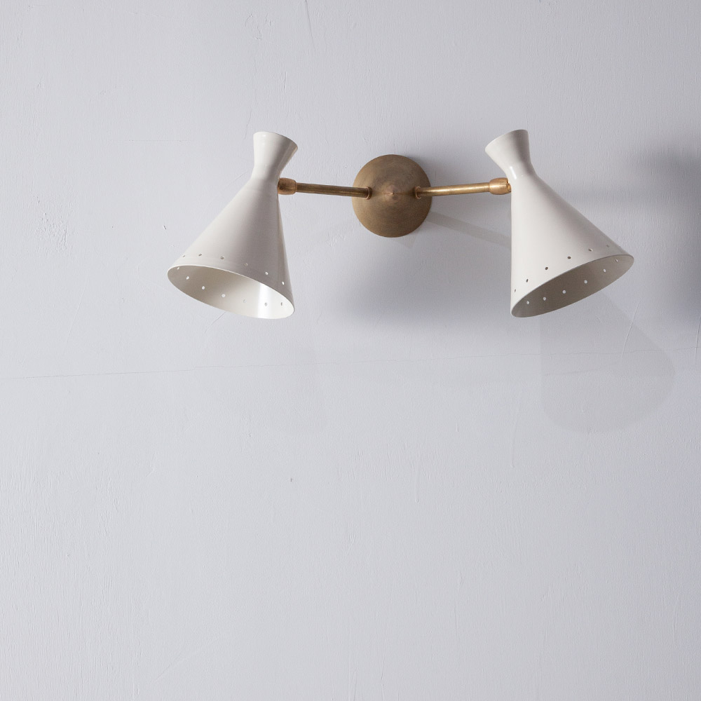 Adjustable Dual Wall Light in Brass and White