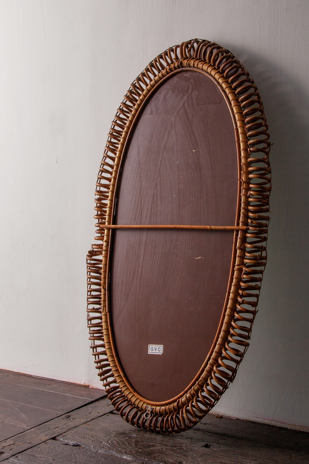 Bent Rattan Oval Wall Mirror