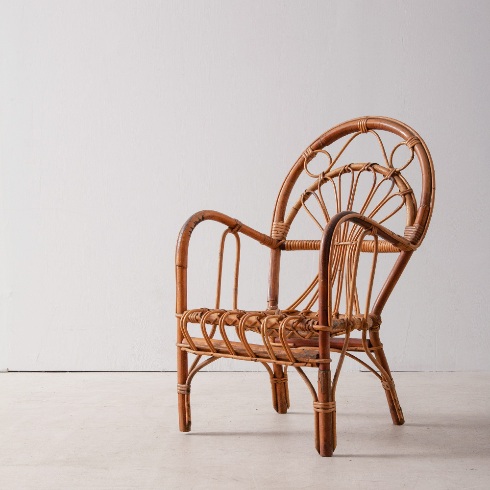 French Vintage Child Chair in Rattan