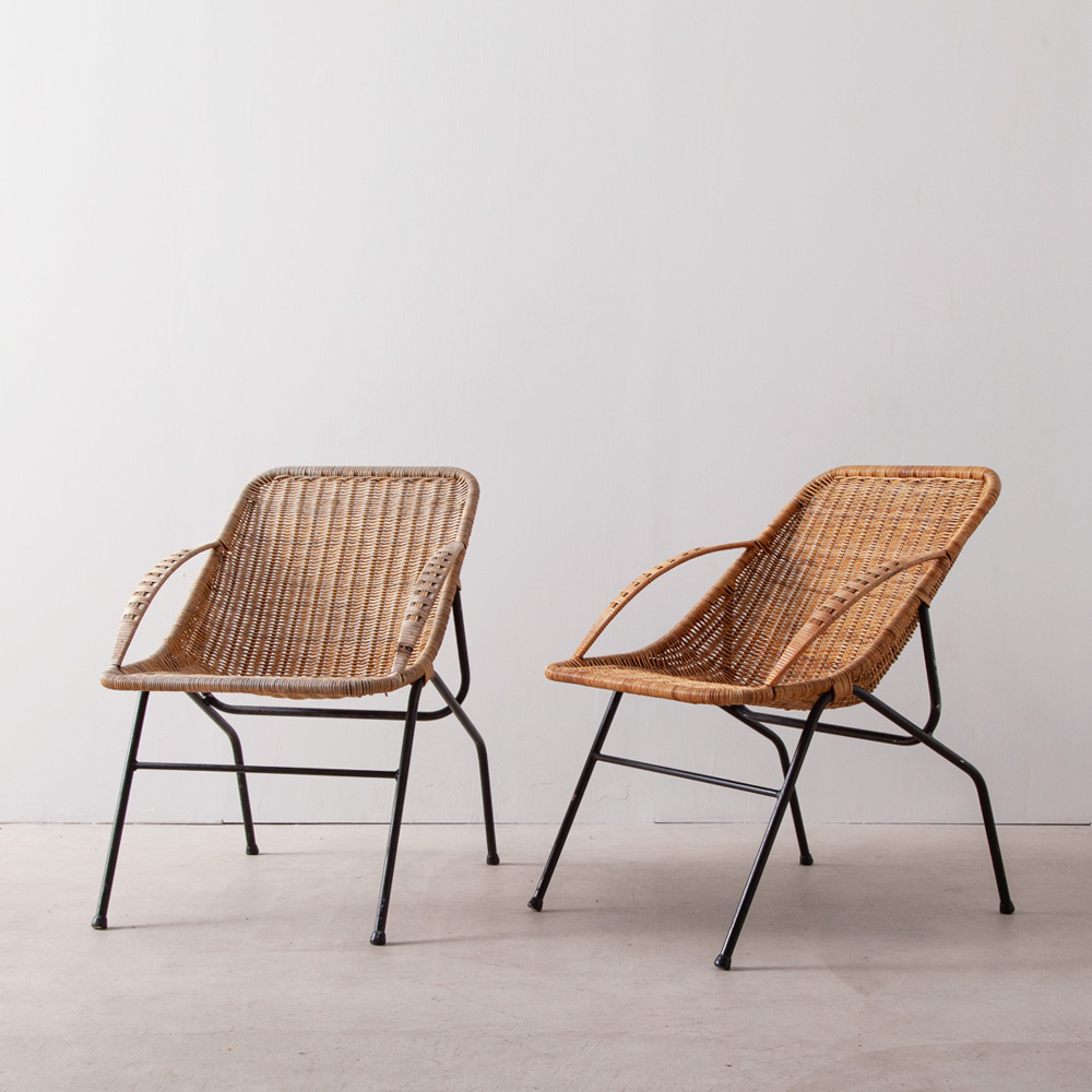 Vintage Chair in Rattan and Steel