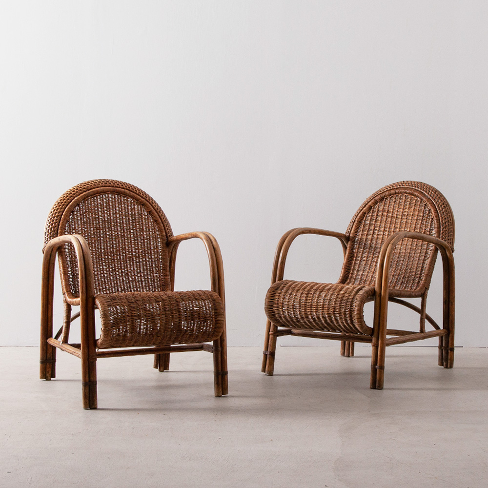 Vintage Arm Chair in Rattan