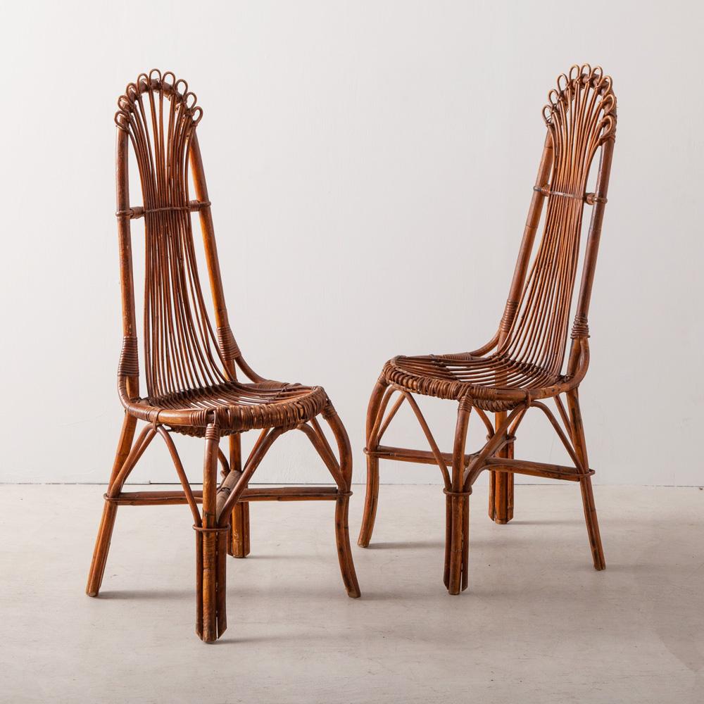 Pair of 19th Century Antique High-back Chair in Rattan France , Circa 1880s 1880年代フランスより、装飾の美しいハイバックのラタンチェア。 Stock : 2