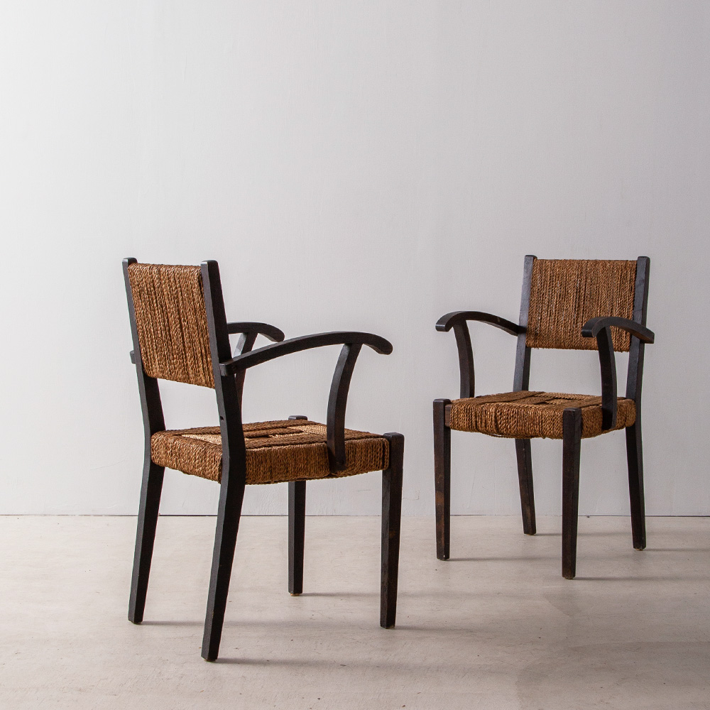 """Pair of Arm Chair in Elegant Rope Cord and """"Bois Noirci"""" Wood by Francis Jourdain"""