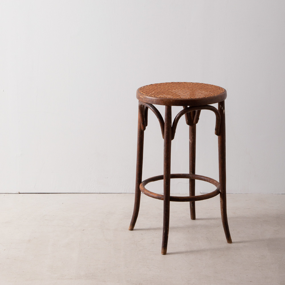 Bent Wood Round Bar Stool in Rattan and Wood for THONET