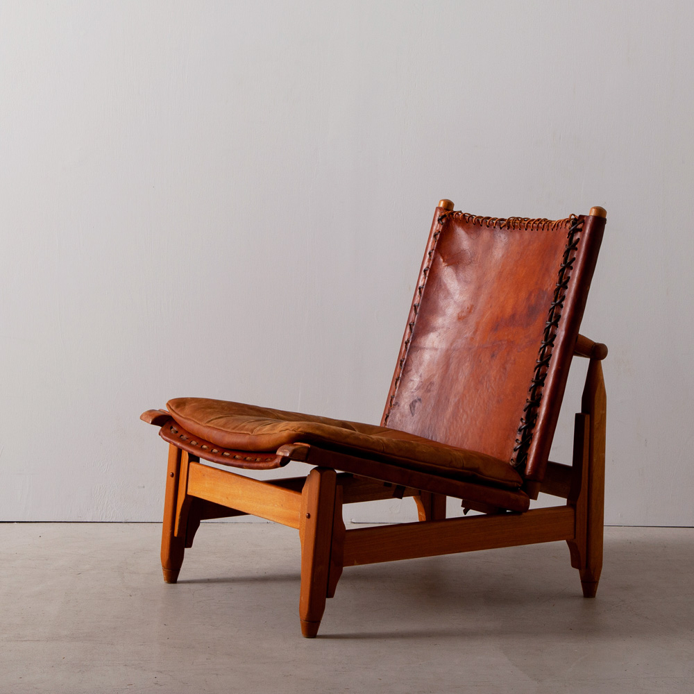 Vintage Saddle Leather Low  Chair with Cushion for Arte Sano by Werner Biermann