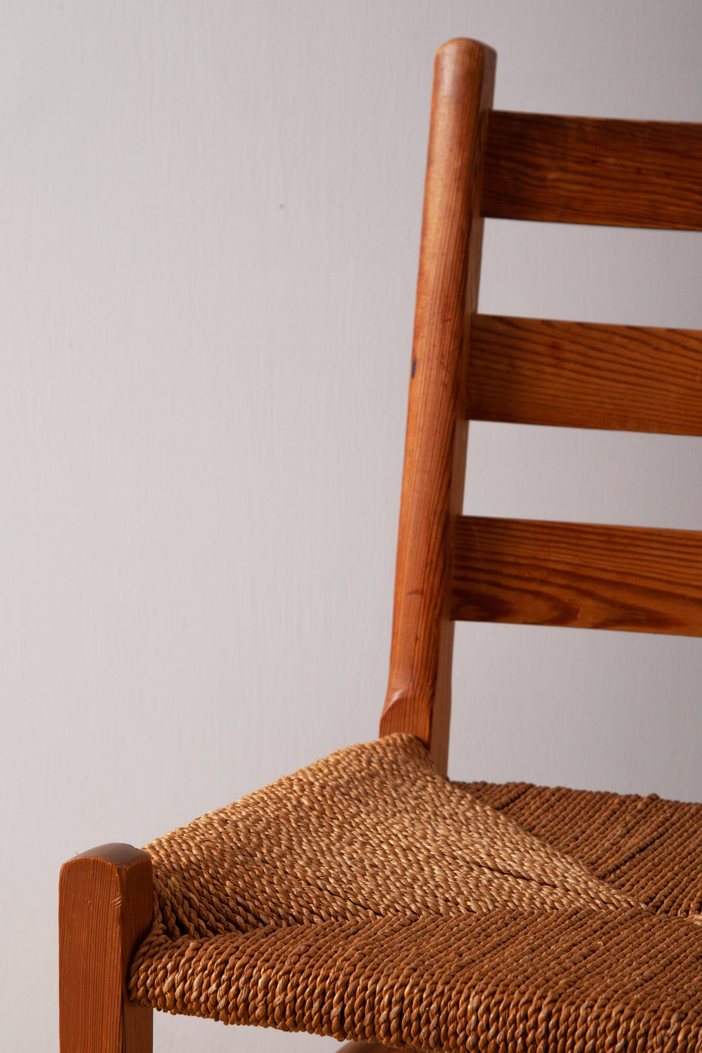 Danish Antique Dining Chair in Wood and Rope