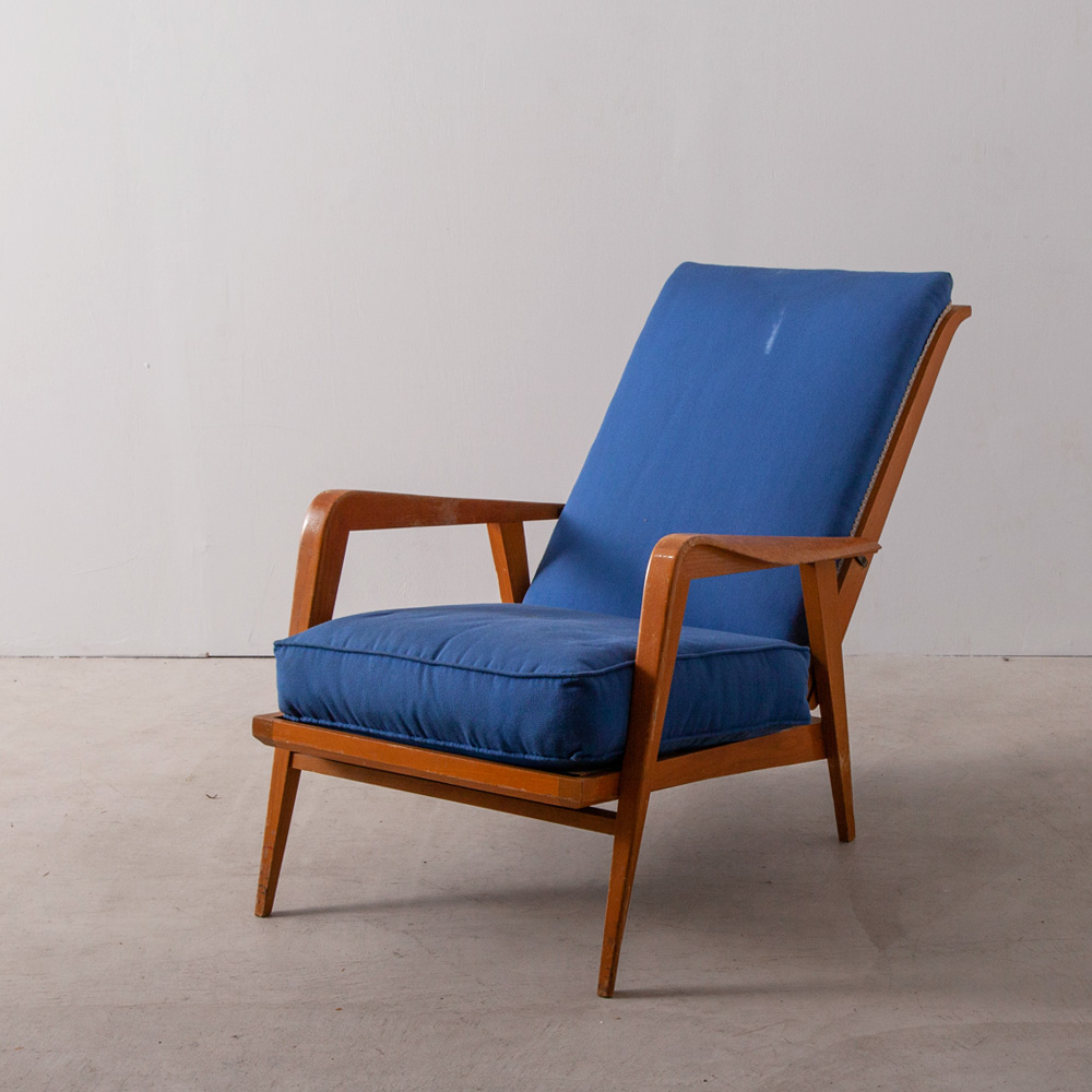 Modern French Sofa in Blue and Wood