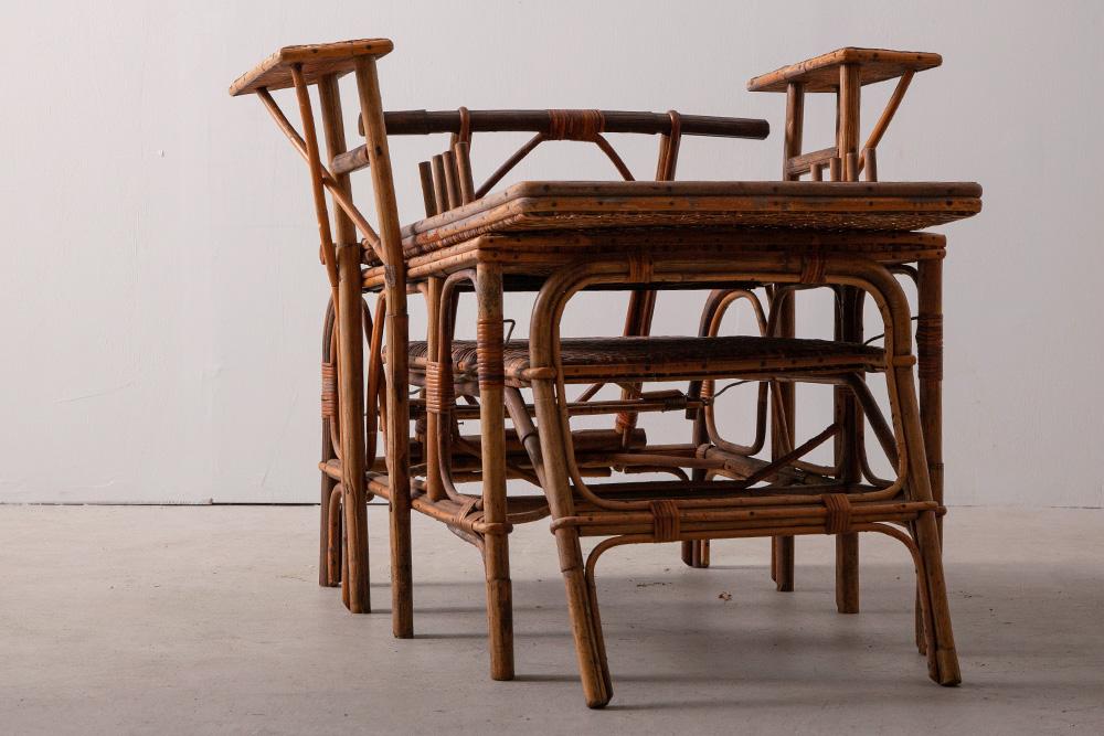 Folding Rattan Arm Chair
