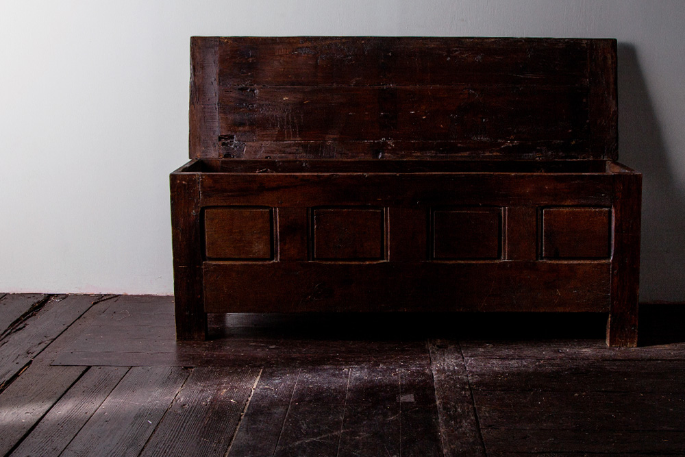 19th Century Antique Wood Trunk
