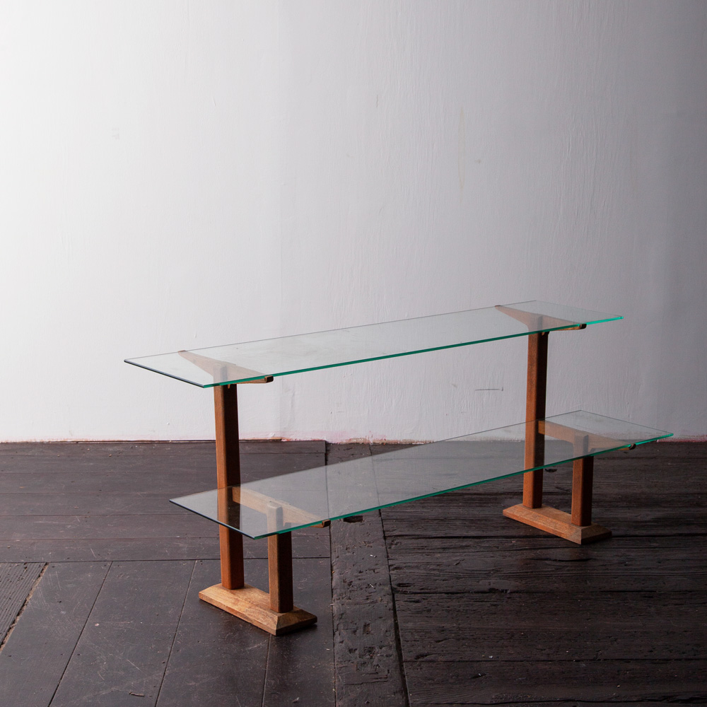 Antique Dual Display Stand in Glass and Cheek