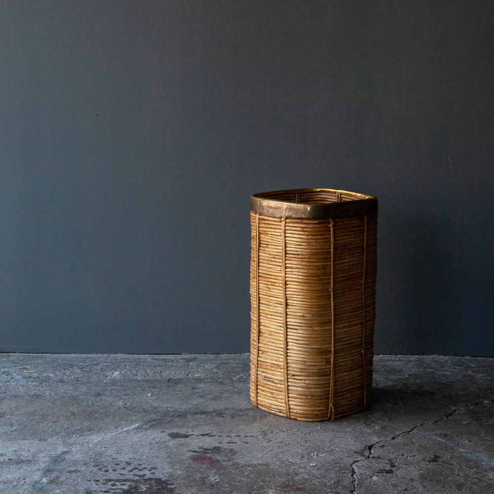 Vintage Umbrella Stand in Rattan and Brass