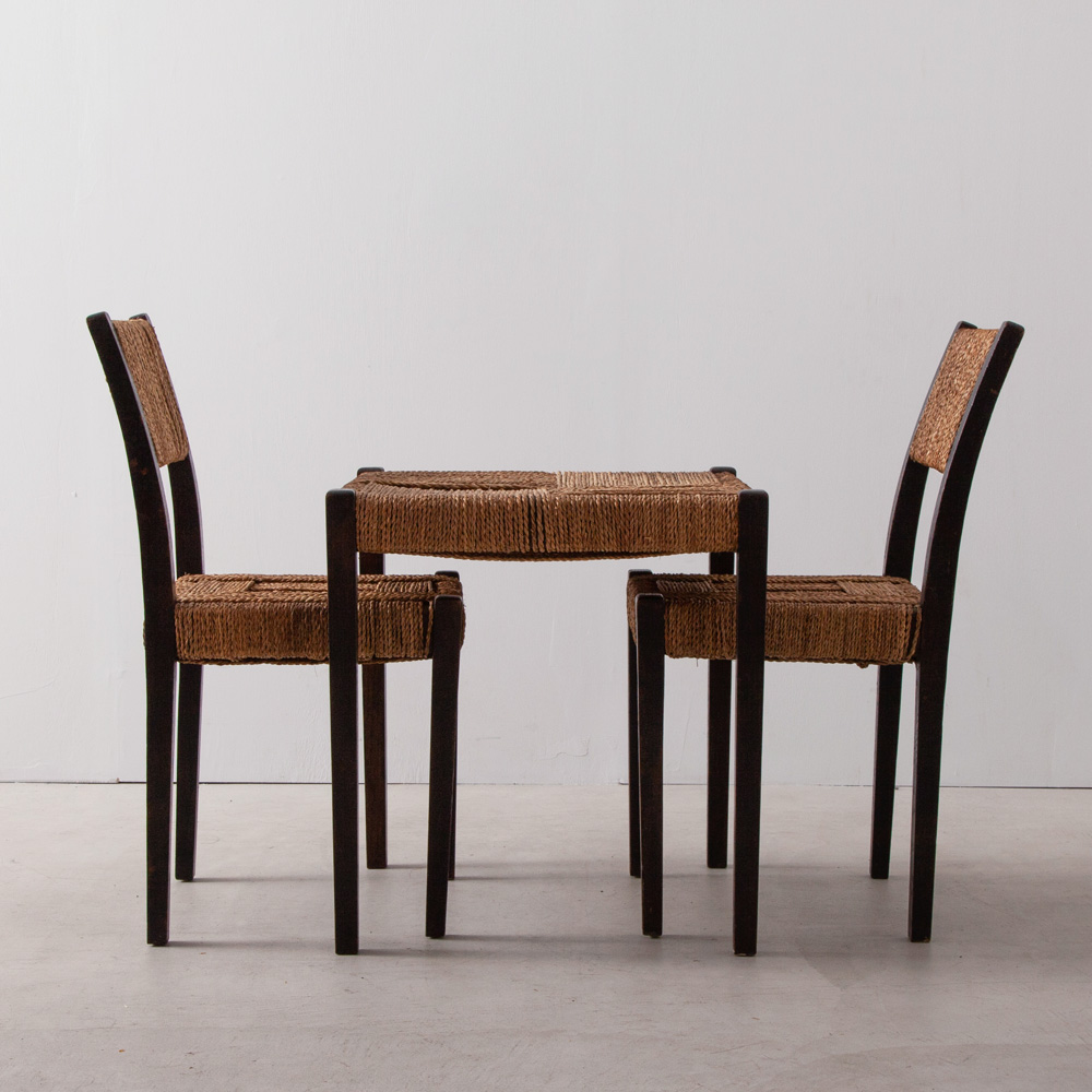 "Chair and Coffee Table in Elegant Rope Cord and ""Bois Noirci"" Wood by Francis Jourdain"