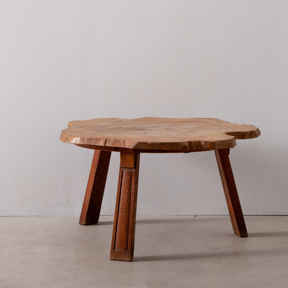 Vintage Log Solid Wood Tripod Coffee Table