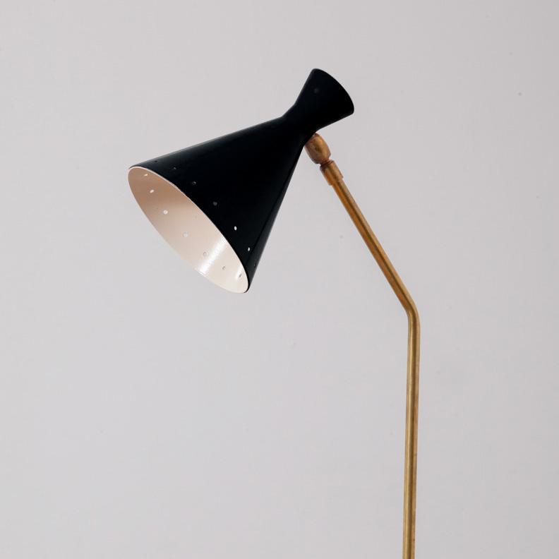 Mid-Century Modern Italian Adjustable Desk Lamp by Stilnovo in Brass and OrangeBlack