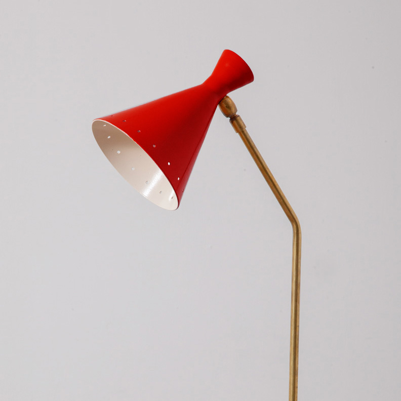 Mid-Century Modern Italian Adjustable Desk Lamp by Stilnovo in Brass and Black Red