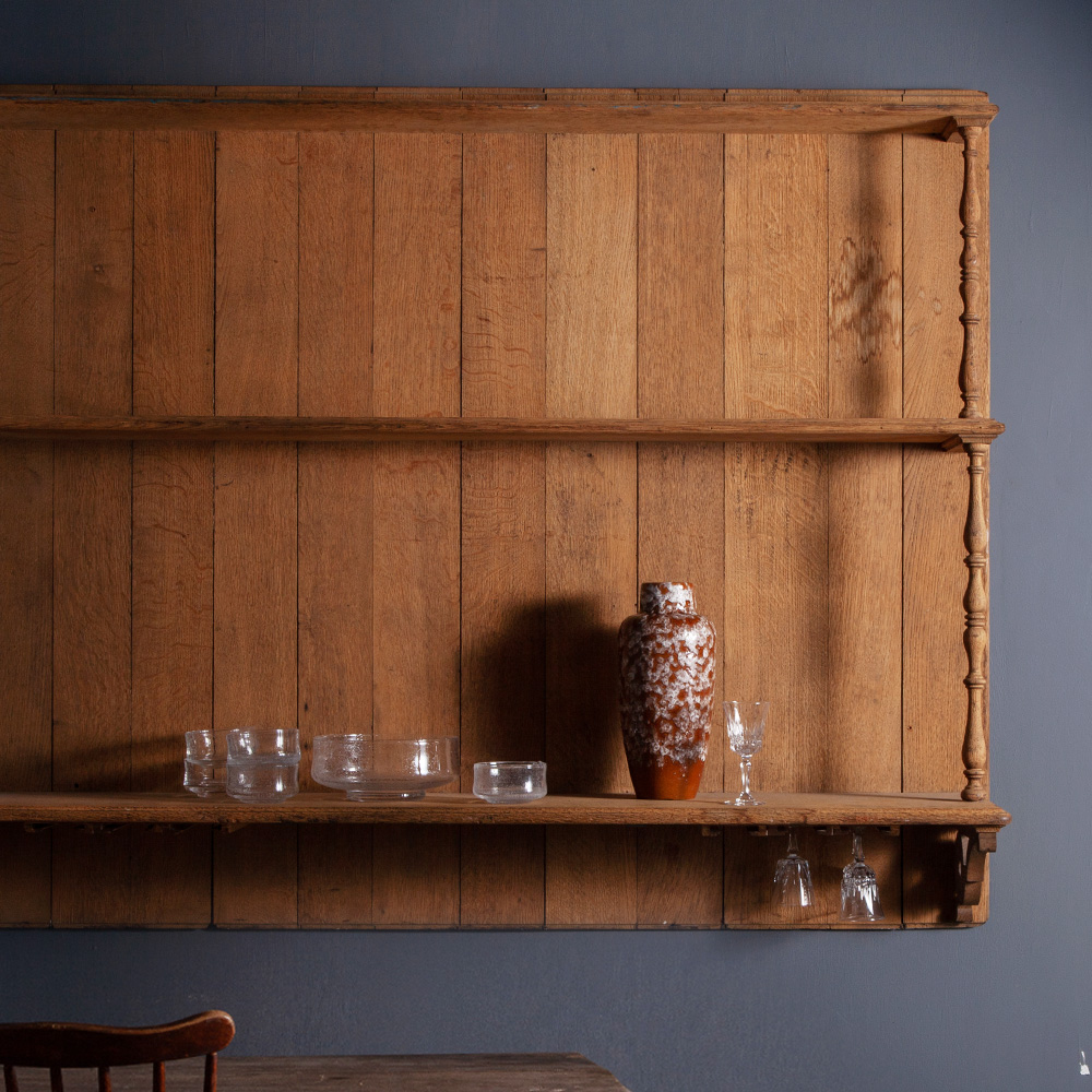 Antique Wall Shelf in Solid Oak