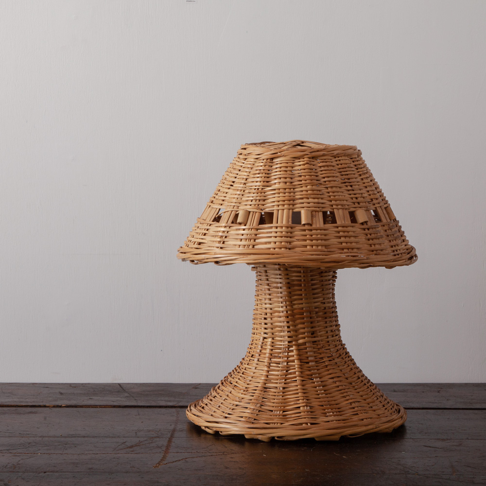 Vintage Desk Lamp in Rattan and Bamboo