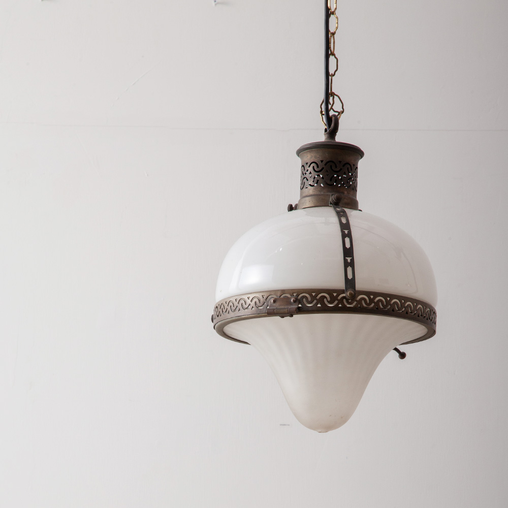 1930s Pendant Light in Glass and Brass for Holophane
