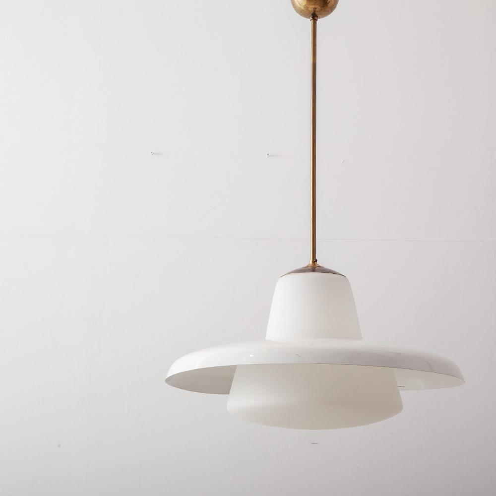 Mid-Century Modern Pendant Light in Brass and White