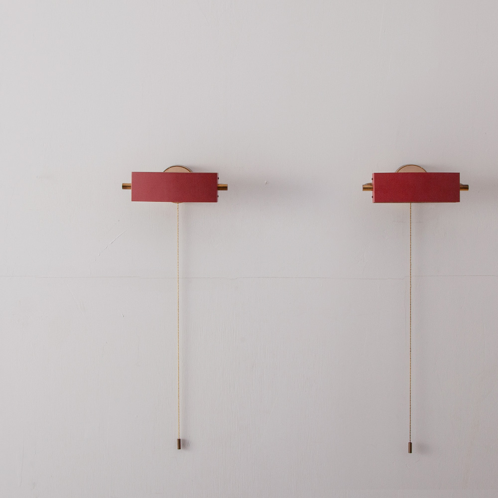 Vintage Brass Pull Code Wall Light by Jacques Biny for LITA in Red