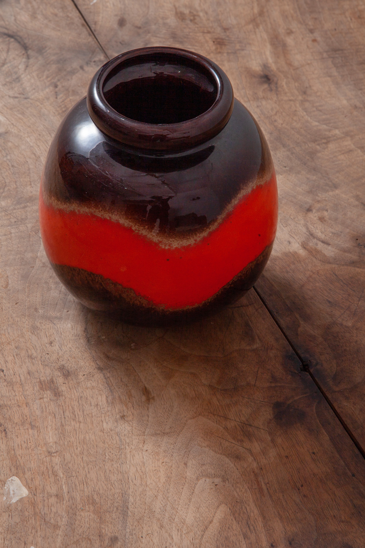 West Germany Vintage Flower Vase in Amber and Orange