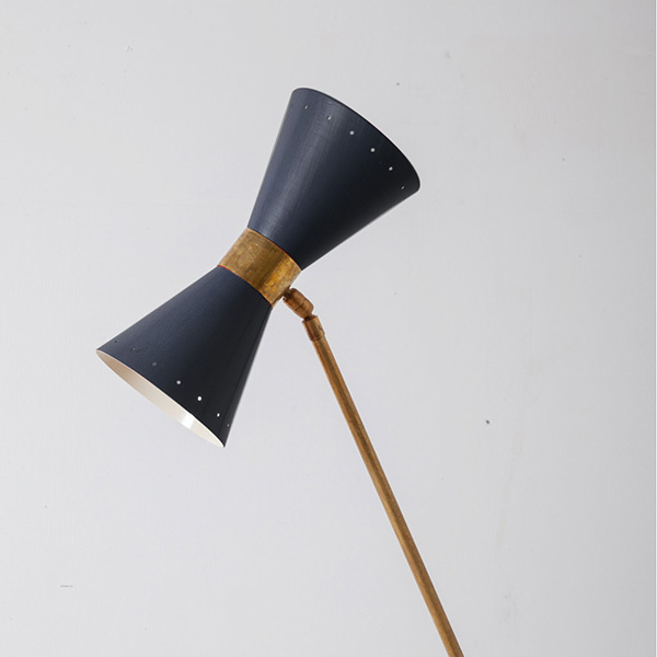 Mid-Century Modern Italian Floor Lamp by Stilnovo in Brass and RedBlack
