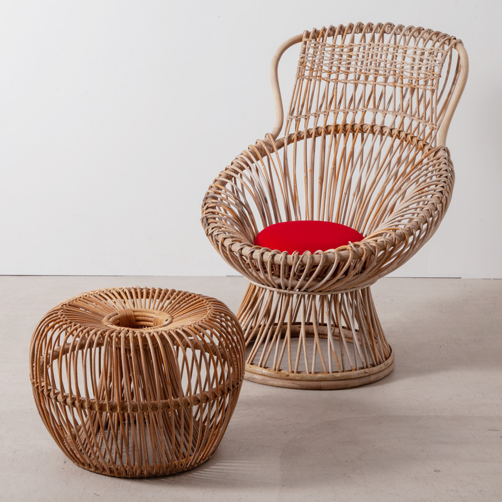 """Margherita"" Chair and Ottoman by Franco Albini"