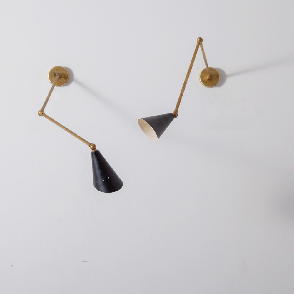 Adjustable Arm Wall Light in Brass and Black